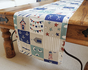Looking outside up here in #NorthYorkshire its pretty grim today! It probably is where you are too but you can cheer up your day with one of my #seaside table runners.  #beach #holiday #holidayherethisyear #handmade #homedecor #homedecorideas