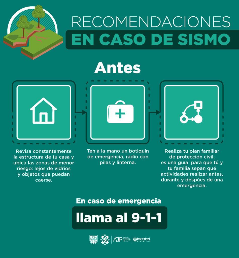 ¡La prevención puede salvarte la vida! 🚨👀Sigue estas recomendaciones para saber como actuar antes, durante y después de un sismo.  👌En caso de emergencias recuerda llamar al 9-1-1.