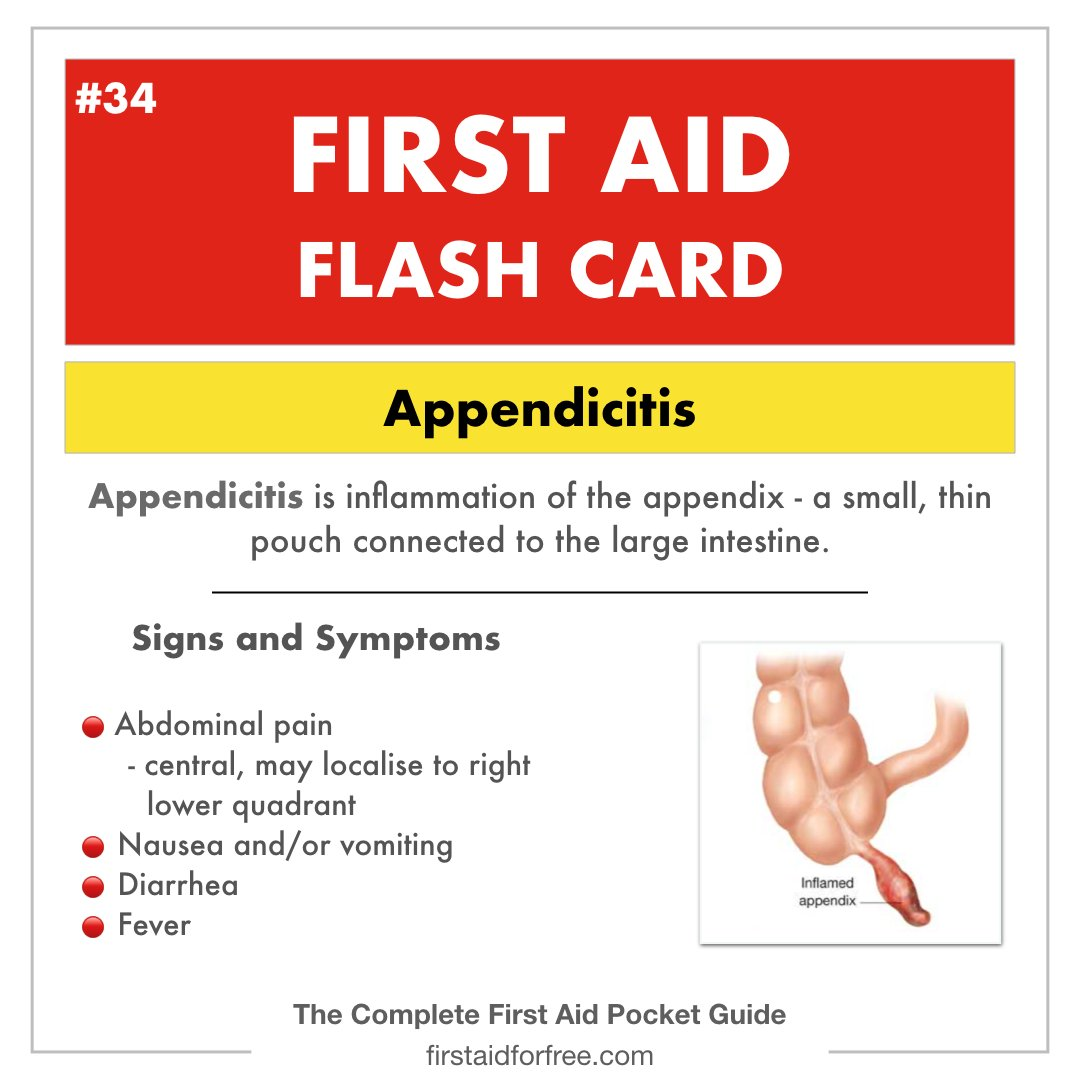 Watch out for these warning signs of appendicitis!  #firstaiding #firstaid #firstaider #CPRcertified #firstaidtraining #firstaidclass #firstaidcertified #medicine #medic #paramedic #ambulance #EMS #EMT #nursingschool #nursing #emergencymedicine #bubba #babyhealth #parentingpic.twitter.com/p2MKbubzD3