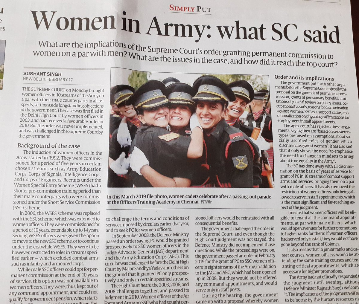 A proud moment for India as the The Supreme Court does away with years of discrimination against women in the fields of combat support and arms in the #IndianArmy. Bringing women at par with men. To #GenderEquality and building a Gender Equal India.@rajnathsingh
