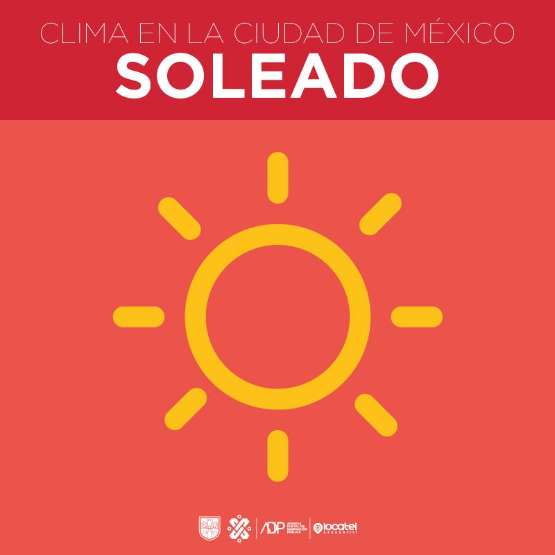 Mañana para la #CiudadDeMéxico se espera un día mayormente soleado, con temperaturas máximas de 27° y mínimas de 12°.