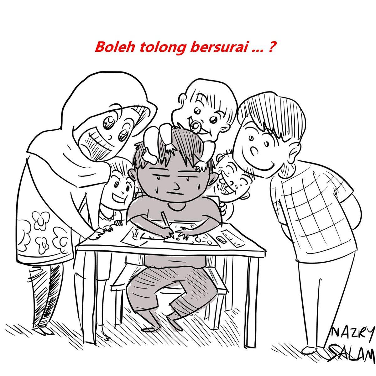 Komik #96  Geng pelukis, adakah anda suka dilihat semasa melukis?  Saya sendiri akan jadi kekok sikit bila ada orang tengok saya melukis.  Btw, Pakej Ultimate Teknik Melukis Komik akan dilancarkan 3 hari lagi.  #komikNazrySalam #NazrySalam #komikMalaysia #SkuadMisipic.twitter.com/3xydbRBjg8