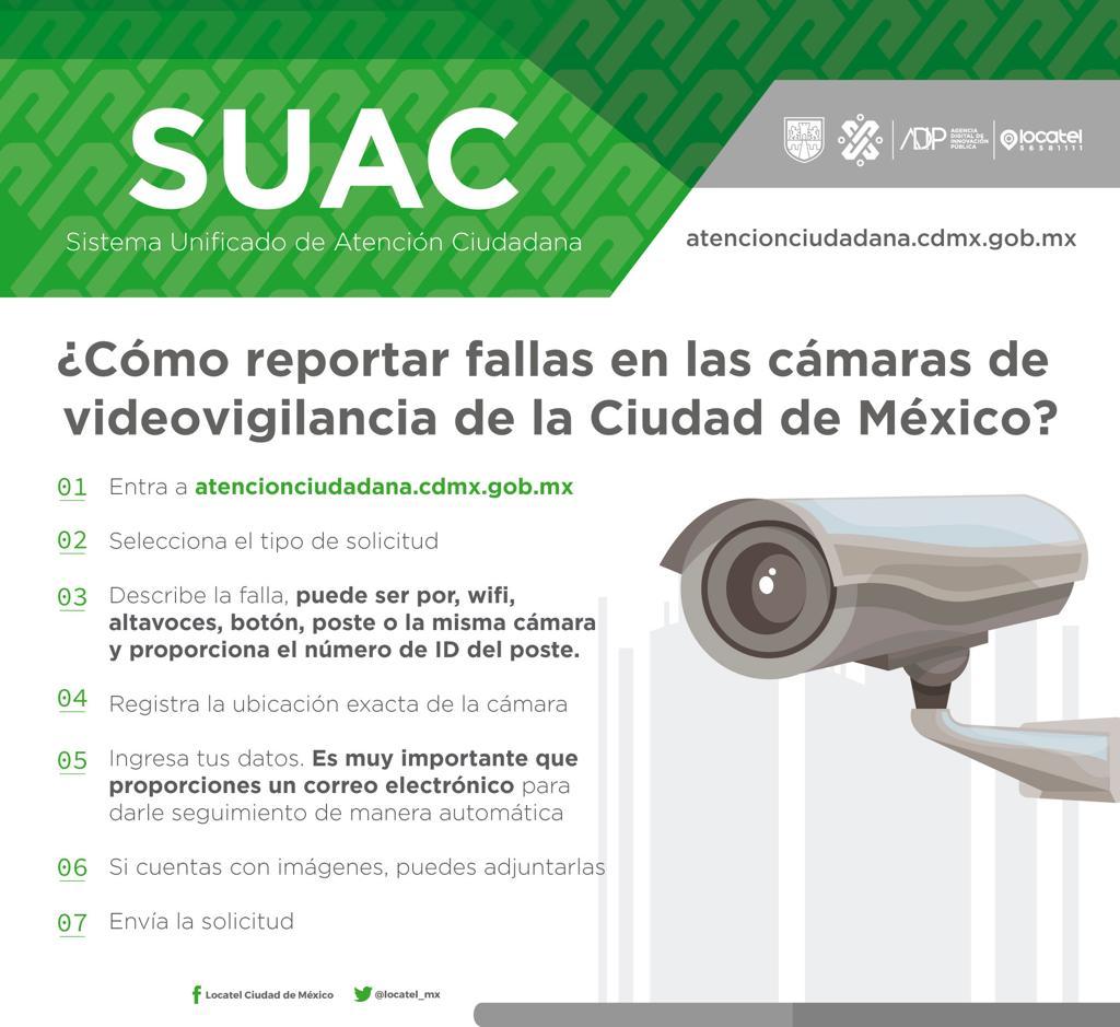 Checa como reportar fallas en las cámaras de videovigilancia, puntos wi fi o botón de emergencia en la #CiudadDeMéxico y ayuda a mejorar la seguridad en las calles.Solo entra a: http://bit.ly/2KihXZq y llena los campos solicitados.