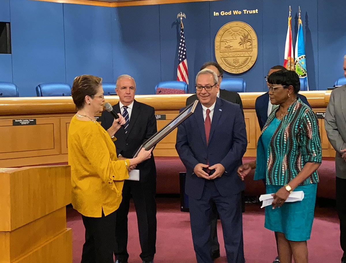 Proud to join Vice Chairwoman @RebecaSosaMiami to recognize @iflymia for surpassing over 46M passengers in 2019 & their incredible performance during this year's @MIASBLIV. #OurCounty
