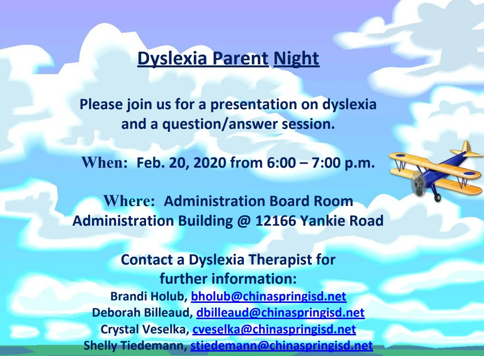Tomorrow night is Dyslexia Parent Night. Please see the flier below. #ourWHY @chinaspringisd