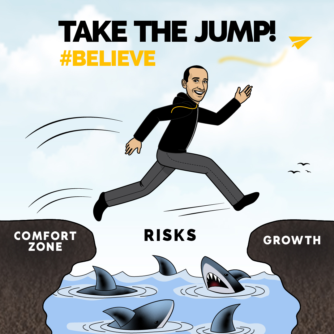 If you want to get the growth you're after you're going to have to take the jump and leave your comfort zone! | Do you AGREE or DISAGREE with cartoon Evan. #Believe . #training #motivation #risk #opportunities