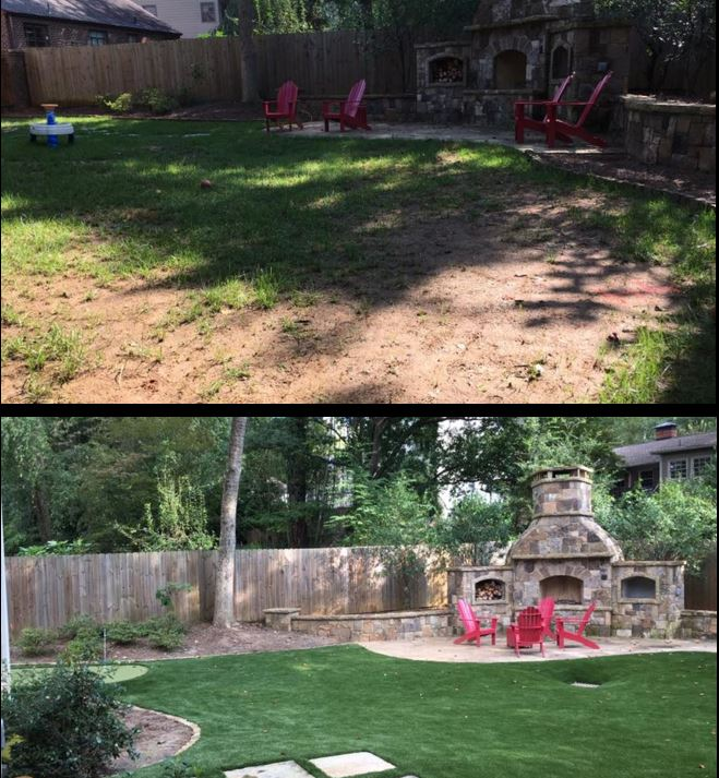 #TransformationTuesday…this backyard was would become a mudpit everytime it rained.  Enter #SyntheticTurf and it's a lush, natural looking space that's ready for any activity!  #ExperienceAGreenerWorld #SoftLawn #PuttingGreens #MaintenanceFree #SyntheticTurfCouncil