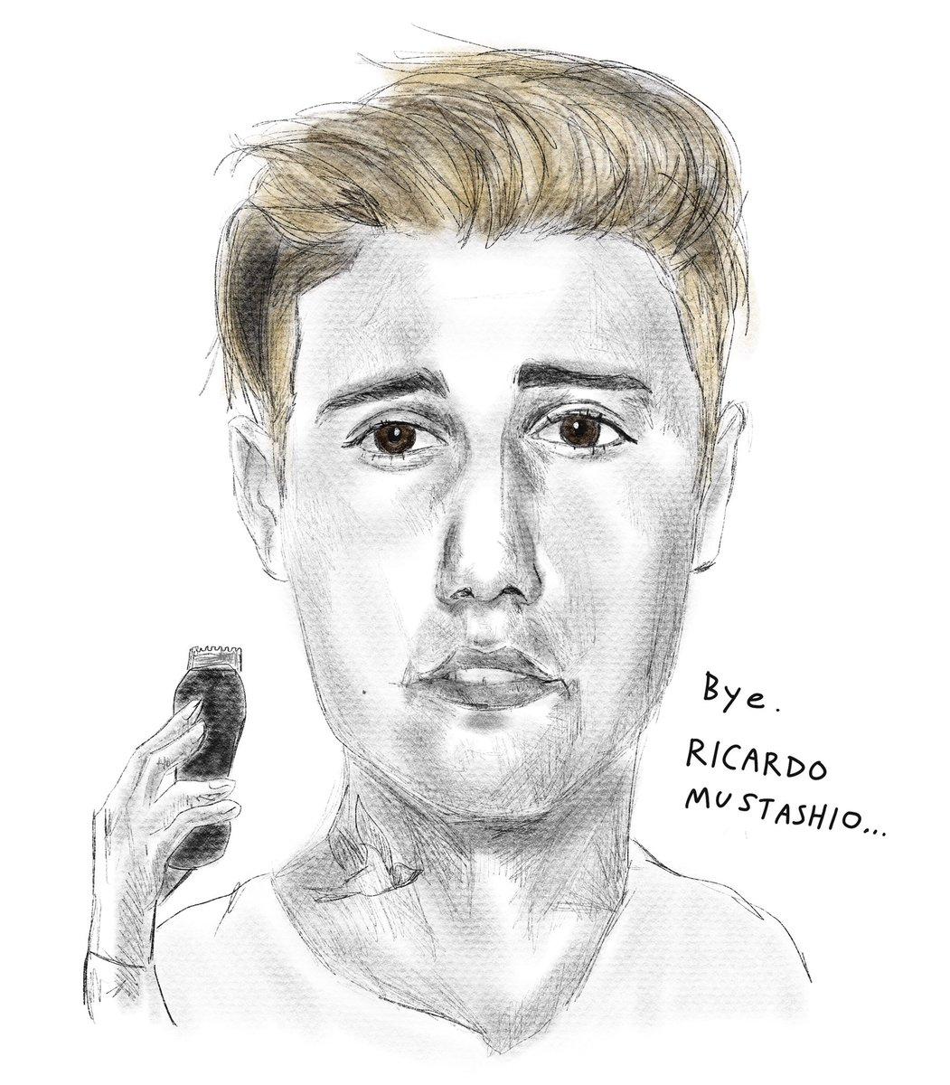 今日のニュースな似顔絵 ジャスティン・ビーバー、 悪評だった口ヒゲをついに剃る  #justinbieber #ricardo #mustashio #portraits #似顔絵