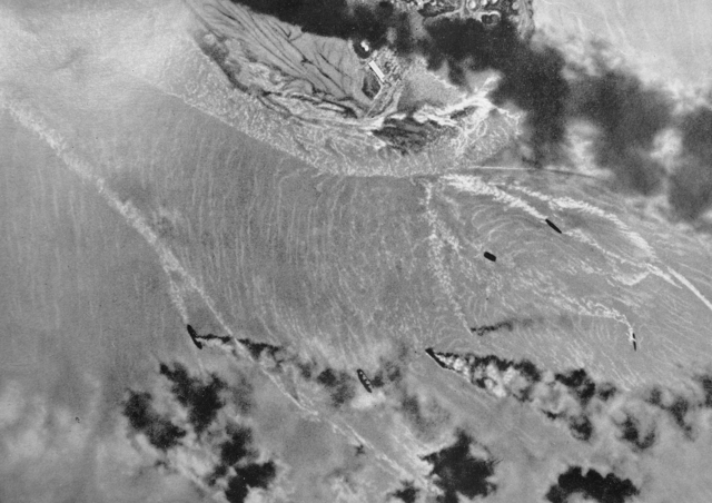 City of Darwin, northern Australia, is being bombed: 242 Japanese planes are raiding the country's northernmost harbour, packed with Allied warships.