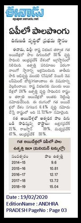 నేషనల్ డెయిరీ డెవలప్ మెంట్ బోర్డ్ గణాంకాల ప్రకారం... ఆంధ్రప్రదేశ్ పాల దిగుబడిలో 55% వృద్దితో దేశంలో అగ్రస్థానంలో నిలిచినందుకు గర్వంగా ఉంది. అలాగే పాల ఉత్పత్తిలో 4వ స్థానాన్ని పొందడం కూడా సంతోషాన్నిచ్చింది. (1/3)