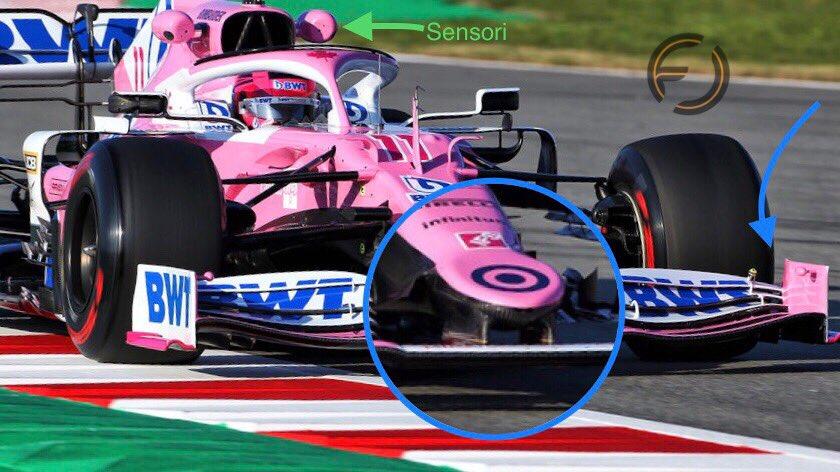 Particolare dell'ala anteriore della Racing Point di ispirazione Mercedes W10. Come tipico del team, sono montati ai lati della presa dinamica due sensori.  #F1Testing #F1 #RacingPoint #F1inGenerale #Barcelonapic.twitter.com/FXCz5GMakF
