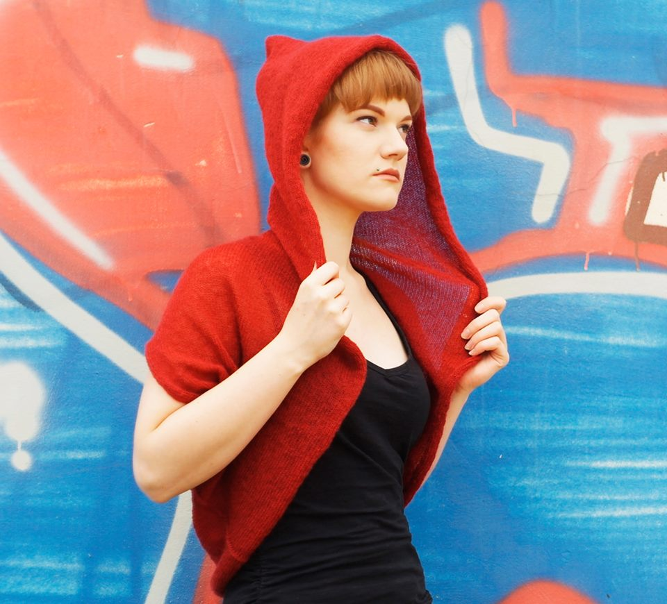 #Hooded #Bolero #Knitted #mohair #Hoodie #Red #Jacket #festive #clothing #cosplay #top  @Etsy