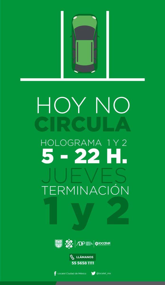 ¡Ya falta poquito para el viernes! 🙌El #HoyNoCircula para este jueves aplica para los vehículos con: Terminación de placas 1⃣ y 2⃣ engomado verde 🍃 con hologramas de verificación 1 y 2. Holograma 0 y 00 circulan sin restricciones.#FelizJueves
