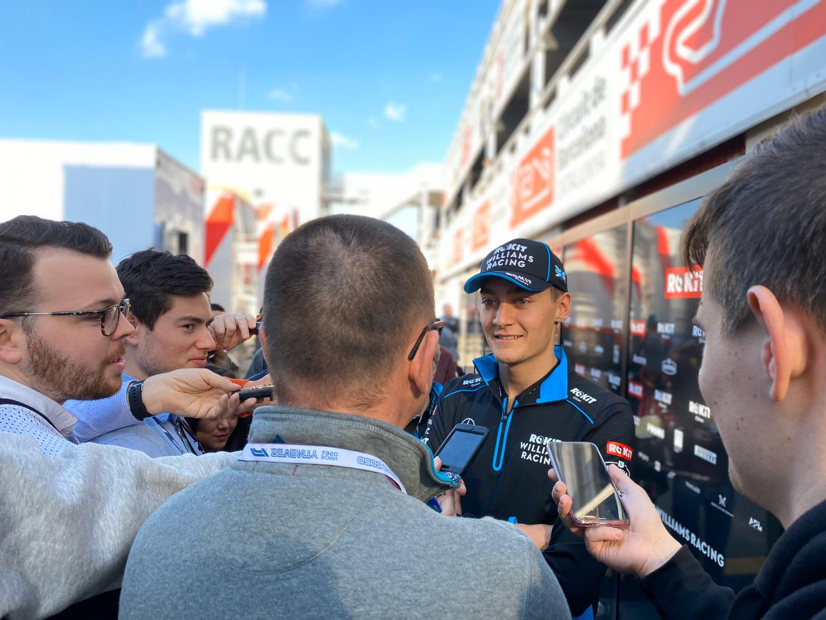 First time driving the FW43 = Lots of media attention for @GeorgeRussell63 🗞️  #F1Testing