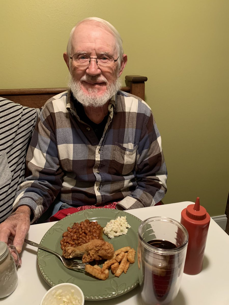 My old man right after his valve replacement. Winner winner chicken dinner. pic.twitter.com/27BlNXo9AA