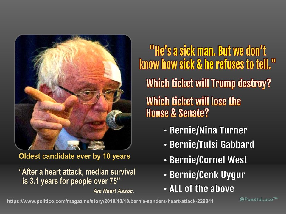 You say you want to win the Senate & keep the House?? If you vote to nominate Bernie, which ticket will do that? • Bernie/Cenk Uygur • Bernie/Tulsi Gabbard • Bernie/Nina Turner • Bernie/ Cornel West • NONE of the above. Friends don't let friends vote Bernie.