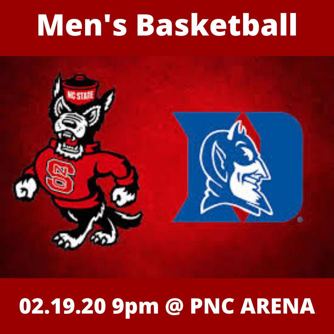 Come support the Wolfpack tonight at 9pm in PNC Arena as the Men's basketball team takes on Duke! Go Pack!⠀ .⠀ .⠀ .⠀ #WolfPack #GoPack #NCState #Duke #basketball