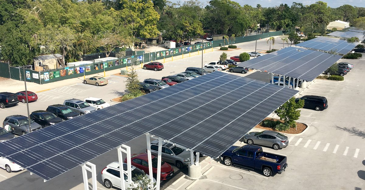 Have you heard of solar canopies?  This is a new feature that many businesses are using over their parking lots—including the Naples Zoo in Florida.  How cool is that?  #solar #solarpanel #solarpanels #solarcanopy #solarenergy #solarenergysystem #gogreen #savegreen #getgreenpic.twitter.com/Rsl0H4m5hW