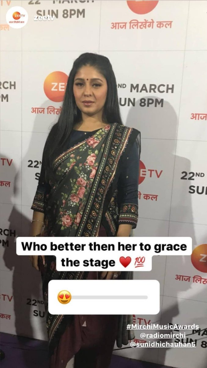 @SunidhiChauhan5 at #mirchimusicawards2020 today Loving the look. Missed her so much. Credits. Zee TV's instagram.