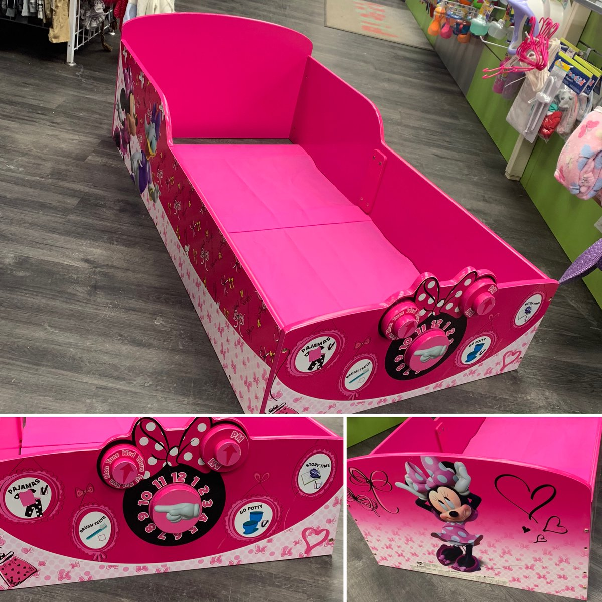 Adorable, wooden, Minnie toddler bed!! Only $40. Retails new for $100!    call to hold! 720-288-0246  Bring your assembled toddler bed in for a quote today!! #savemore #furniture #toddlerbed #minnie #kidsstuff #pink #coloradokids #bed #nightnight #onceuponachildaurorapic.twitter.com/0rqz4G5j9V