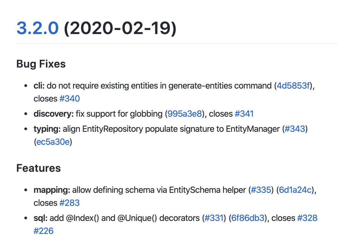 MikroORM 3.2 just released, few bug fixes as well as brand new way to define entities, the EntitySchema helper!  #TypeScript #javascript #knexjs #MongoDB #mysql #postgresql #DEVcommunity #objectoriented #nodejs #sql #100daysofcode #webdev #webdevelopment   https://github.com/mikro-orm/mikro-orm/blob/master/CHANGELOG.md#320-2020-02-19…pic.twitter.com/sO3WED8Xnt
