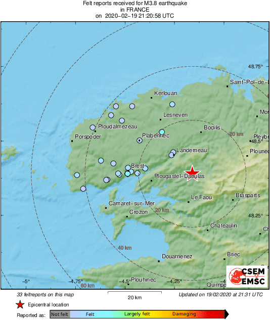 M3.8 #earthquake (#séisme #TremblementDeTerre) strikes 24 km E of #Brest (#France) 11 min ago. Effects reported by eyewitnesses: