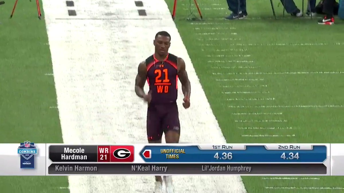 .@MecoleHardman4 ran a 4.34 40-yard dash at the 2019 Combine. ⏱️  That speed came in handy for the @Chiefs.    📺: 2020 #NFLCombine starts Thursday 4pm ET on @nflnetwork