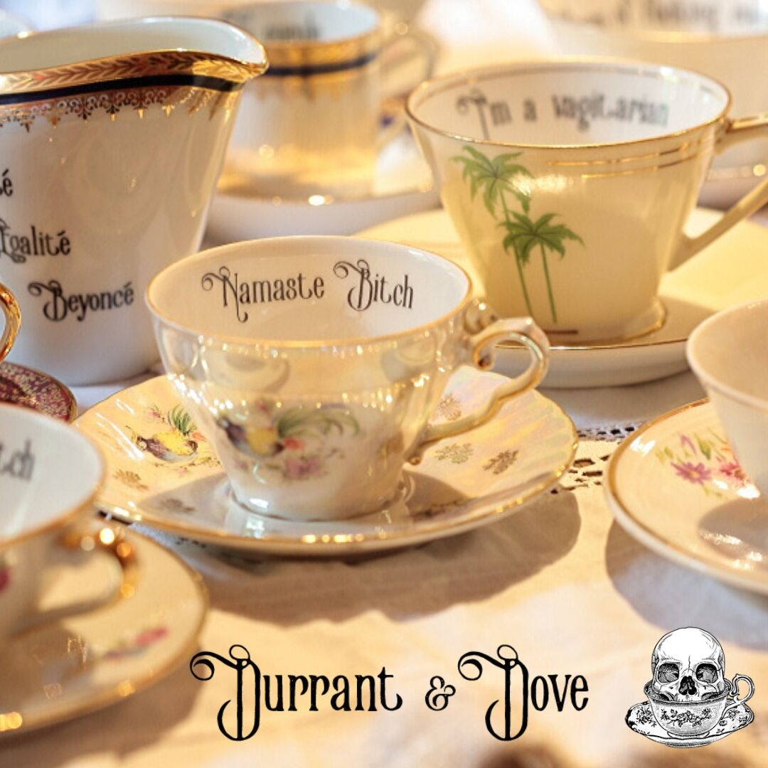 """I didn't fancy hot yoga anyway"" huffed Dove.  http://www.durrantanddove.com  Shop for your inner peace.   #namastebitch #namastebitches #hotandbothered #durrantanddove #insulteacups #frenchdecor #limoges #frenchchic #frenchconnection #vulgarteacups #vintageporcelain #rinseandrepeatpic.twitter.com/u6njEOZXEP"