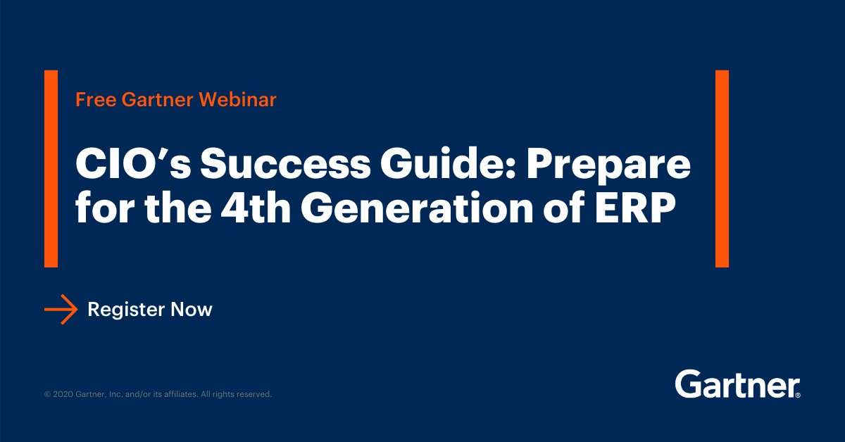 Are you prepared for the 4th generation of #ERP? Join Gartner analyst Denis Torii as he discusses what ERP can mean for your business in our free, on-demand #webinar. Watch now: https://gtnr.it/38K6Od8  #GartnerSYM #CIO pic.twitter.com/TSKca5UYQF @Gartner_inc
