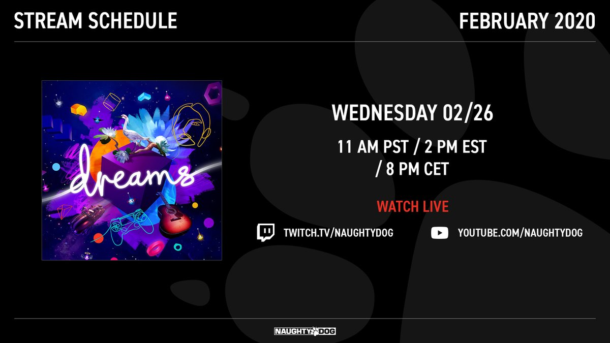 Thanks for tuning in for this week's live stream! Join us next Wednesday, 2/26, as we stream #DreamsPS4 from our friends at @mediamolecule!  and