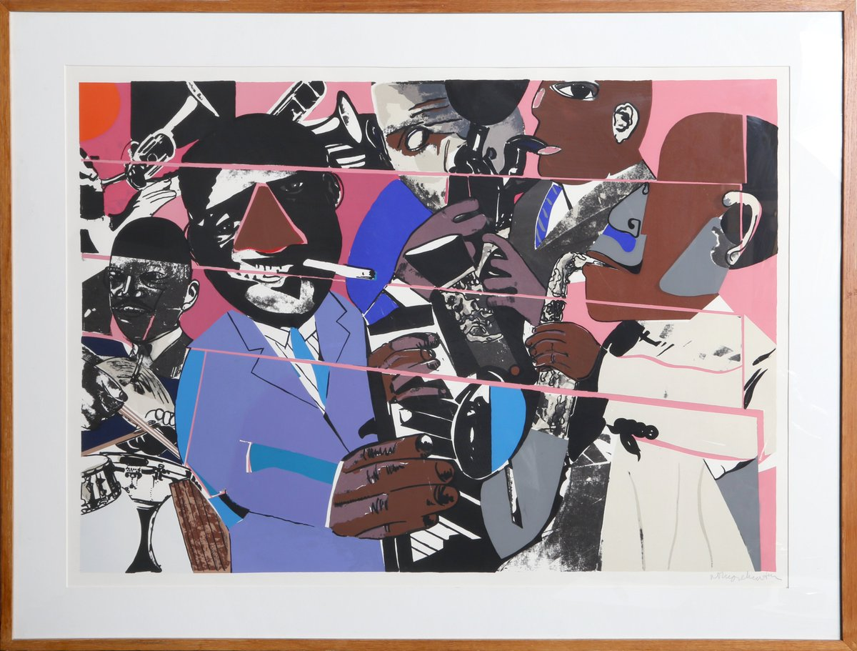 #RomareBearden made #cubist scenes of #blackculture with #painting & #collage. The NYC artist made statements about the #HarlemRenaissance with vibrant art. Jazz II #screenprint & much more #africanamericanart available now at http://RoGallery.com ! #blackhistorymonthpic.twitter.com/fTecaAjelh