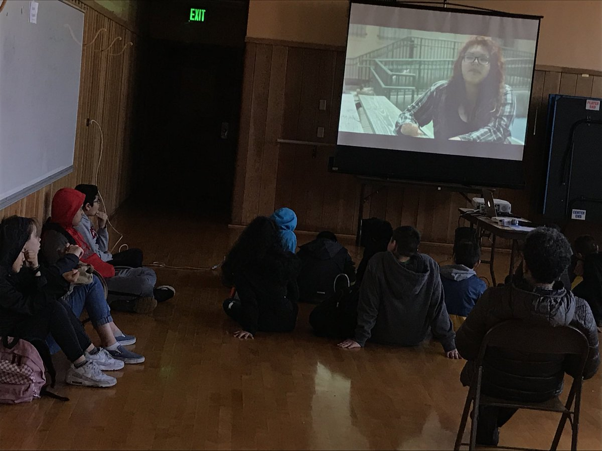 """Bret Harte Middle School students viewing """"Push Out"""" aa part of celebrating Black History month. Students will sit in circle afterwards to share their thoughts on the documentary.  #film #RJ #Oakland #education"""