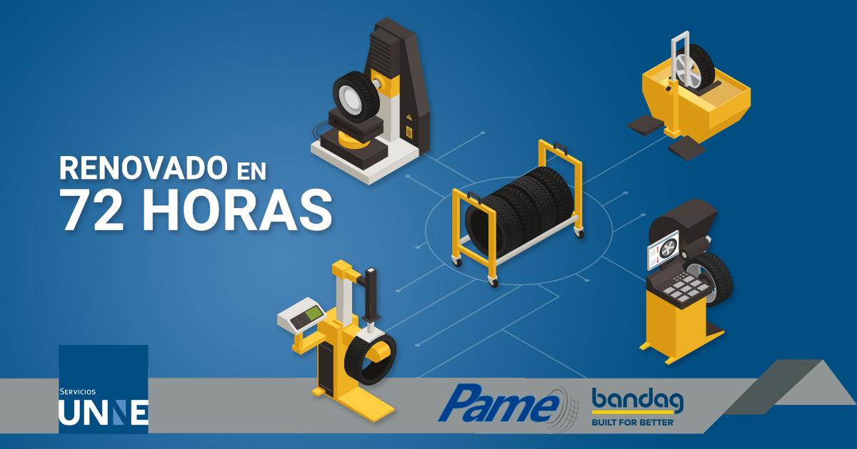 #Pame te ofrece el servicio de renovado de neumáticos ¡en 72 horas! ⏳ ¡Llámanos! Con gusto te atendemos en el 📞77 3732 5810 #UNNEservicios #Bandag #Llantas https://t.co/MshwFSAeFY