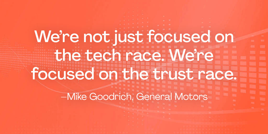 One of the biggest hurdles facing #autonomousvehicles is skepticism, says Mike Goodrich, @GM. Hear how the company is getting people to trust the tech as the first step to adopting it on #Projectified. #podcast #automotive #transportation http://ow.ly/LkiV30qhsmH pic.twitter.com/XmEYjikztD