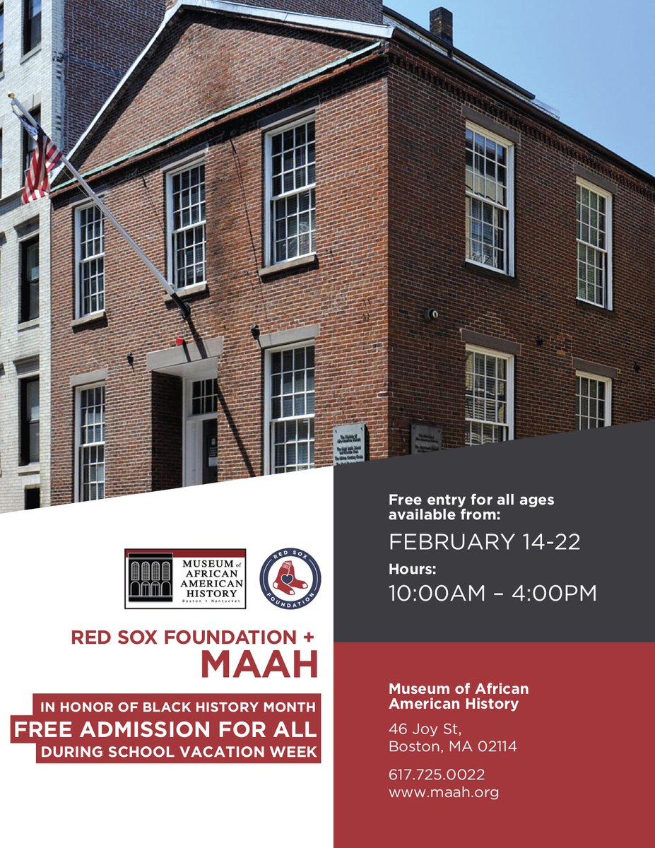 RT @BostonSchools: The @RedSoxFund is providing FREE admission to Beacon Hill's Museum of African American History, through 2/22. A great opportunity for @BostonSchools students to celebrate #BlackHistoryMonth during vacation week!  http://maah.orgpic.twitter.com/bHoSSInASA