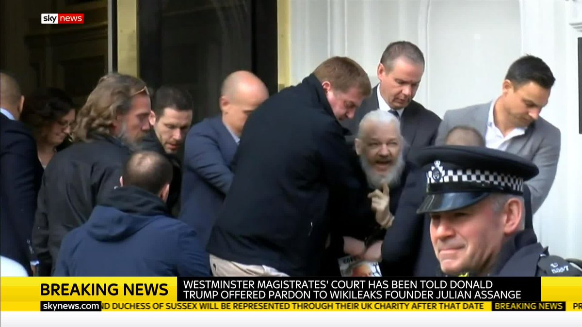 BREAKING: Westminster Magistrates' Court has been told that US President Donald Trump offered to pardon Wikileaks founder Julian Assange if he said Russia was not involved in the leak of Democratic National Committee emails.  Get today's top stories: