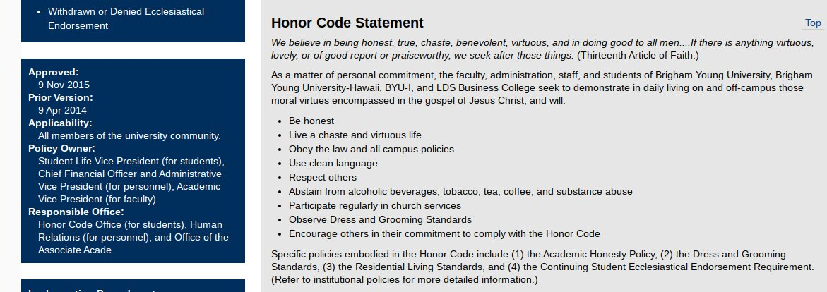 In other news, the @byu #honorcode was changed for the first time in five years. Is there anything about combating racism or homophobia on campus? Nope, the @ch_jesuschrist *checks notes*  just added vaping.  Vaping.