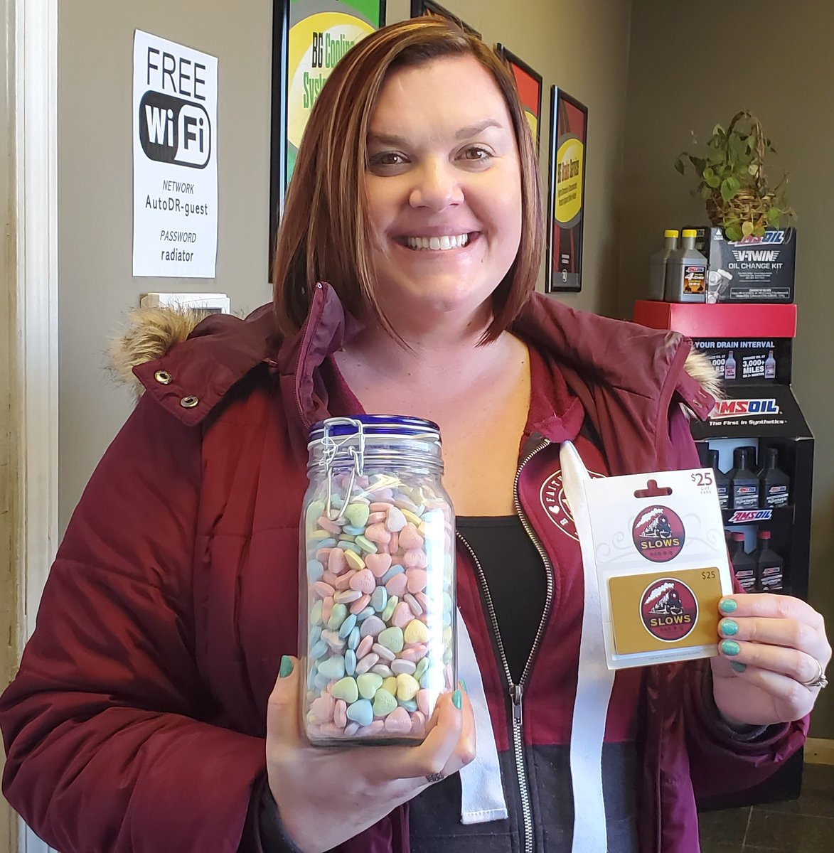 Congratulations to Colleen M. for winning our Valentine's Day contest. She received the jar with 838 candy hearts along with a gift card to Slows BBQ! #AutoDR #AutoDRjr #ValentinesDayContest
