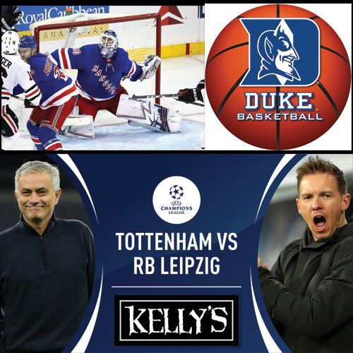 Wednesday Sport at Kelly's!  Happy Hour until 7pm! Come in for some great deals such as Pizza & a Beer for $10  and BUBBLE HOCKEY!  #ChampionsLeague #Atalanta v Valencia 3pm #Spurs v #RBLeipzig 3pm  #NHL #Rangers at #Blackhawks 8pm  #CollegeHoops #Duke at N Carolina 9pm