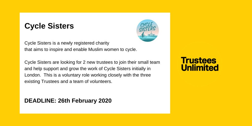 Cycle Sisters - providing a culturally sensitive social opportunity for Muslim women to cycle, breaks down many barriers. Their goal is to grow into a nationwide network of Muslim women cyclists. They are seeking a new #Trustee to join their board. bit.ly/39MEJC9