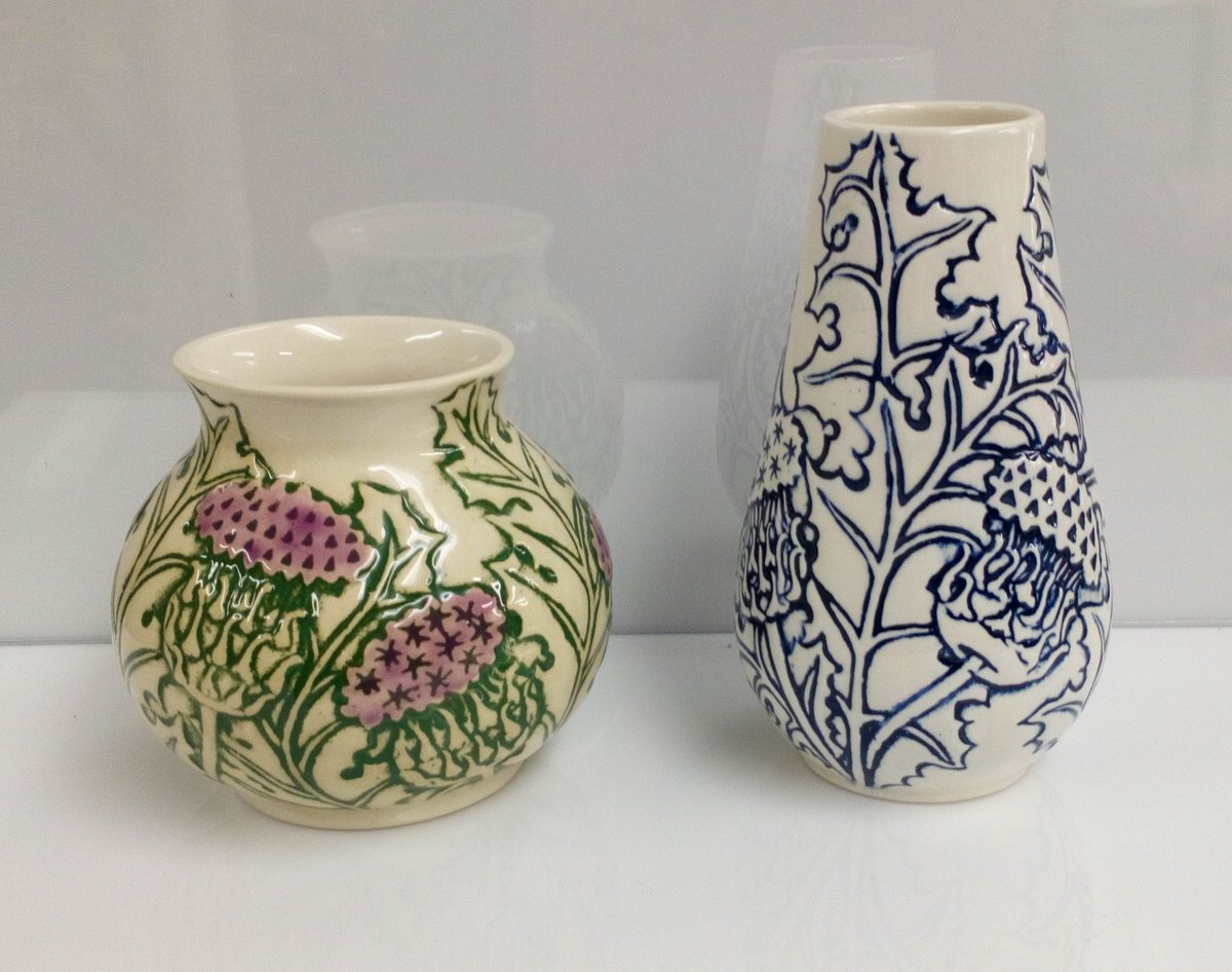 Beautiful thistle vases, part of yesterday's delivery from JSCeramics. The blue/white colourway is a new one for them, #scottishcraft #ceramics #vases #thistles