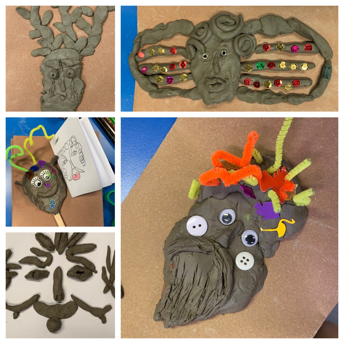 Check out the cheeky #clay creations inspired by the architecture of @charlton_house that were made by the loads of talented kids that came to my session today. ✌️ @GreenwichHT #Charlton #HalfTerm #MuseumEd