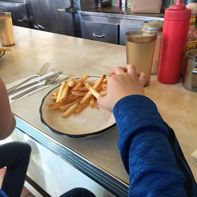 That Palace Diner burger did not stand a chance. The boy says 5/5 stars. #Maine #GoodEats @palacediner