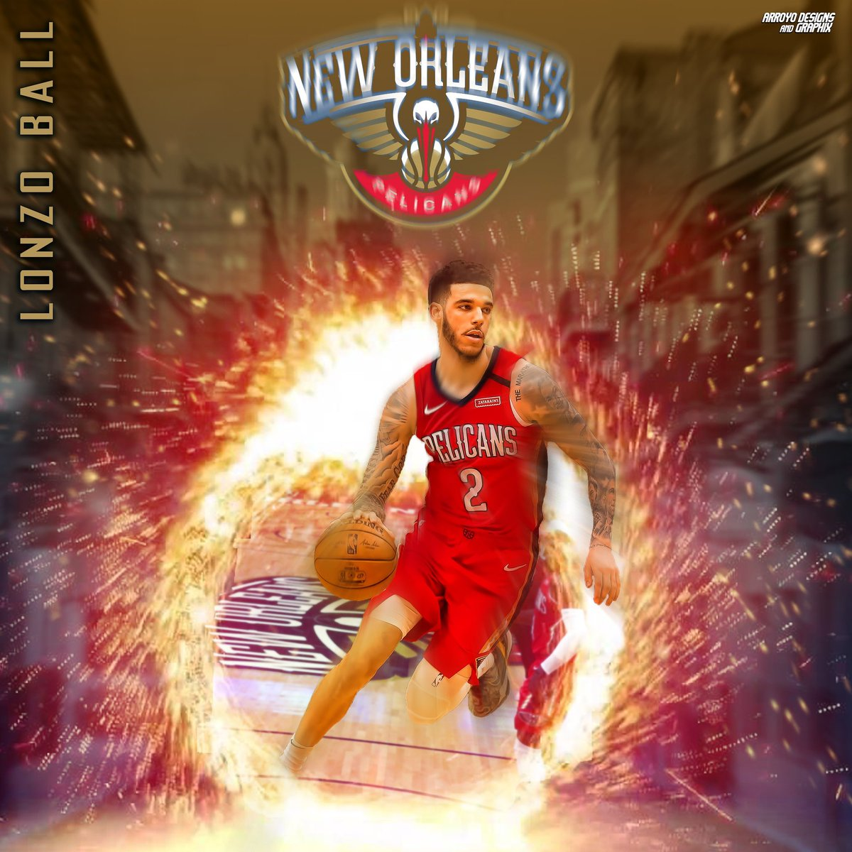 This season, #LonzoBall is averaging 11.9pts, 6.1reb, 6.7ast, 1.3stl. Settling in well in #NOLA! In this graphic, I have him going through a portal from the #SmoothieKingCenter floor to the middle of #BourbonStreet.  #NOLAsFinest #Pelicans #DoItBig #NBA #Basketball #BallIsLifepic.twitter.com/nWYx54Rx2L
