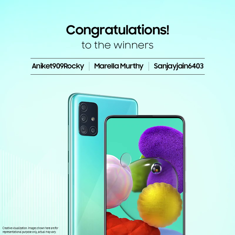 Congratulations to the winners of #YourAwesome contest. It's time to celebrate the win. DM us your contact details and we'll get back to you shortly. Keep playing! #GalaxyA51 #Samsung