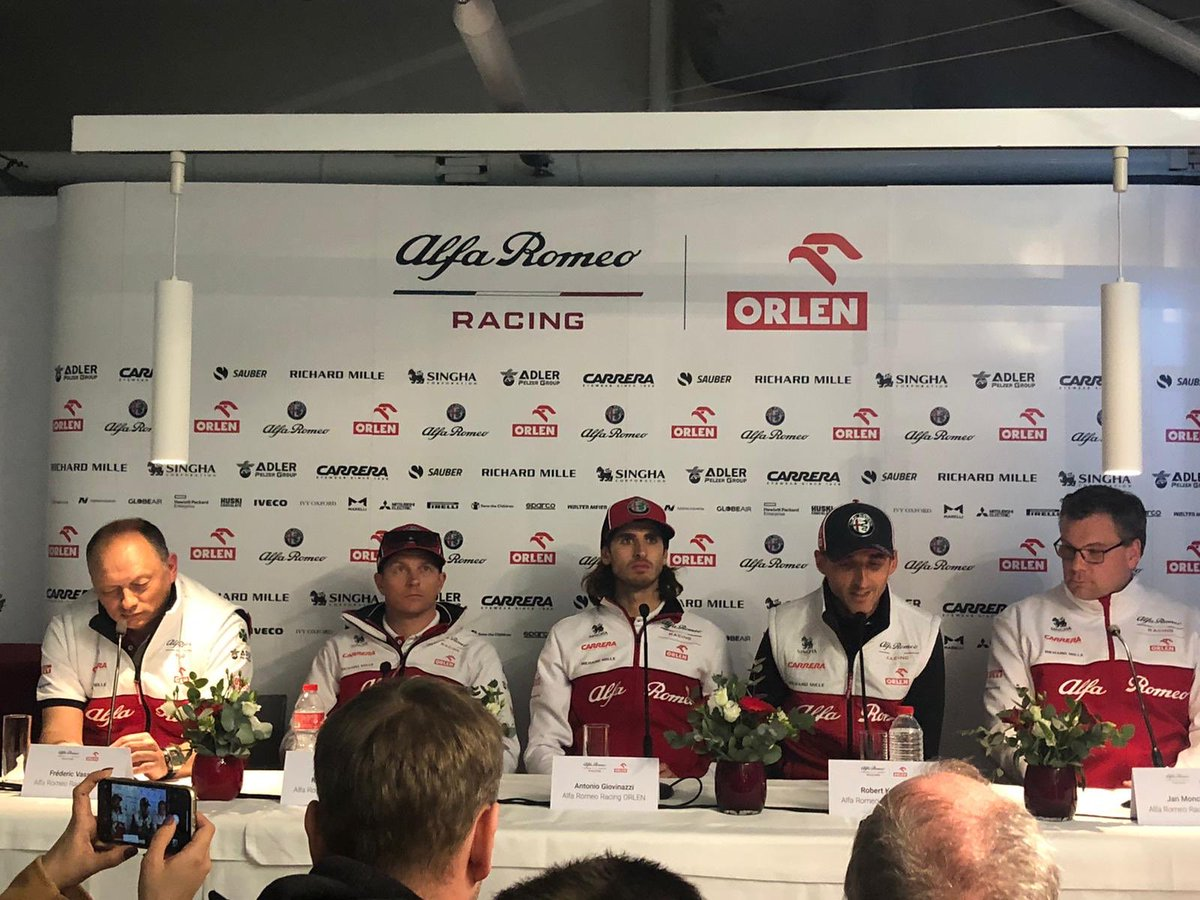 Alfa press conference just now. All in great mood, Kimi and Fred Vasseur laughing and joking. Giovinazzi pleased with the car, and Kubica in brighter mood than last year. #F1 #F1testing