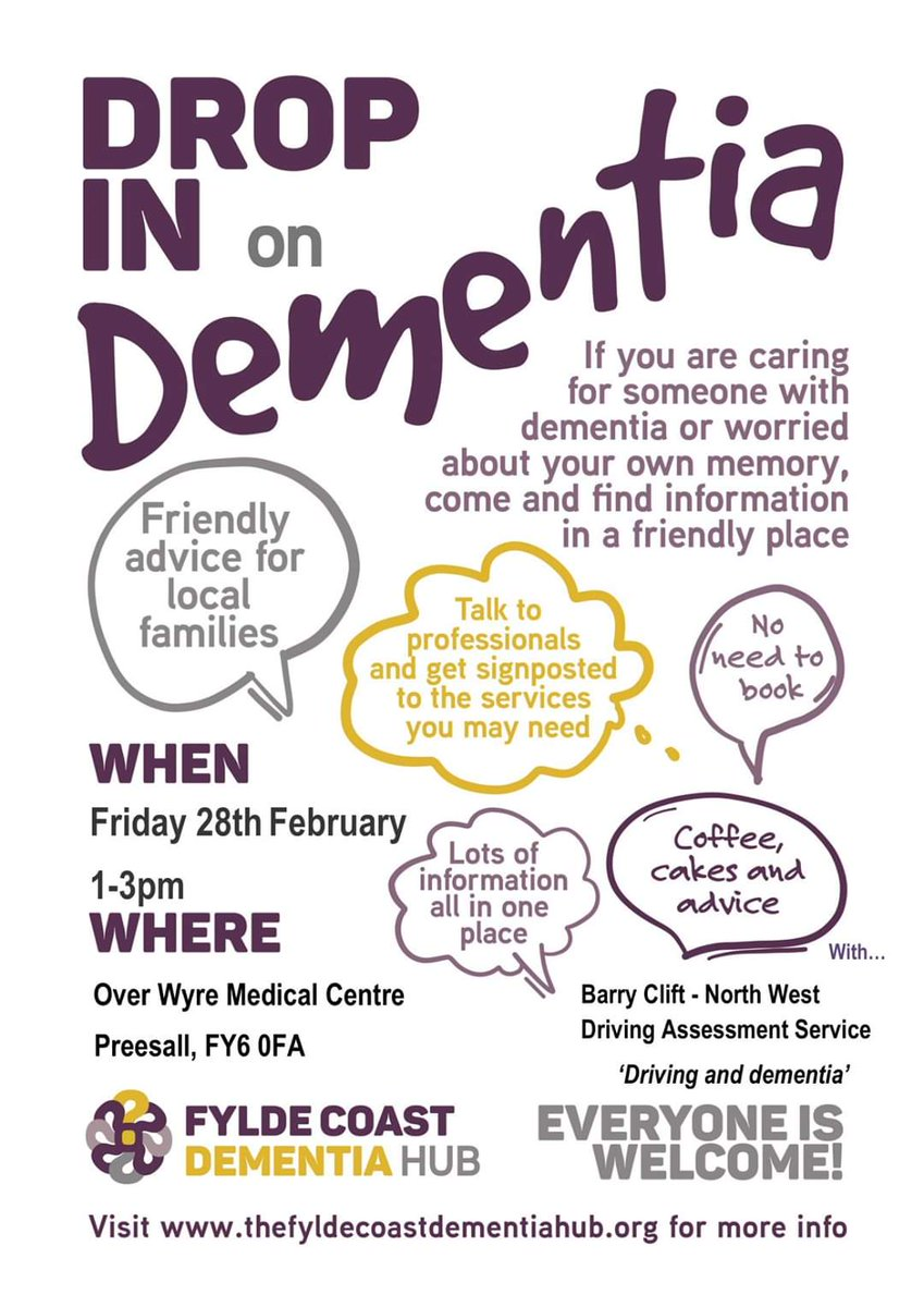 Come along to the next dementia hub on Friday 28th February 1pm - 3pm at Over Wyre Medical Centre, Preesall, FY6 0FA