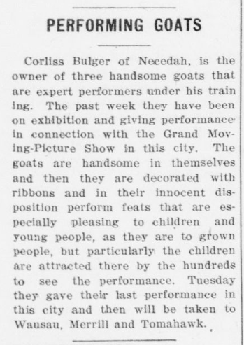Who doesn't love performing goats? (1910) #ChronAm http://ow.ly/KJnZ50yakBQ #Wisconsin #WisconsinNews #WisconsinHistorypic.twitter.com/GubY67jMLe