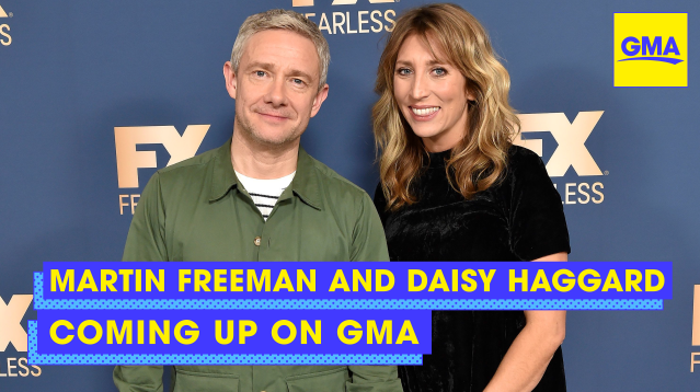 COMING UP ON @GMA: Martin Freeman and @daisy_haggard join us LIVE in Times Square to talk #Breeders!