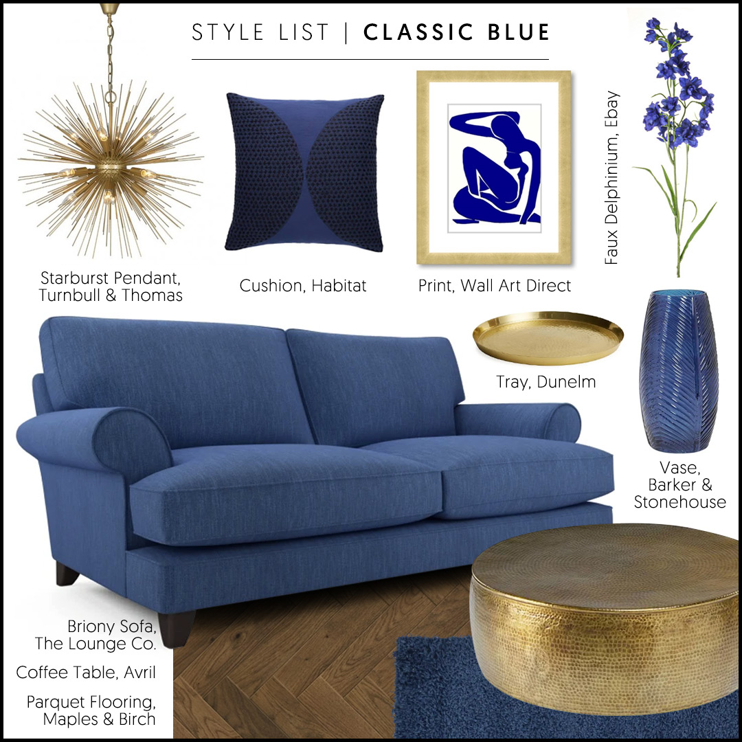 Style List | Choose the Pantone Colour of the Year 2020, Classic Blue, accessorised with dark wood and gold to create a grown-up, peaceful lounge... Shop Briony: http://bit.ly/briony-sofa #getthelook #classicblue #cobalt #modernelegance pic.twitter.com/zuUyASam5j